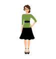 young teacher lady in green dress vector image vector image