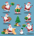 christmas santa claus set funny santa claus in vector image