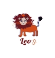 Cartoon cute fire leo sign on white background vector image