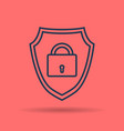 linear icon internet shield with lock vector image