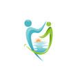 abstract human figure dental logo design vector image vector image