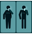 Before and after a diet silhouette of man vector image
