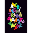 Bright abstract comic font alphabet vector image vector image
