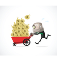 businessman run money vector image vector image