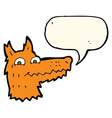 cartoon fox head with speech bubble vector image vector image