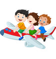 cartoon little kids riding airplane isolated on wh vector image vector image