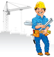 Cheerful engineer builder vector | Price: 3 Credits (USD $3)