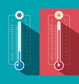 Cold and hot thermometer icons celsius and