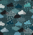 Colorful Seamless Pattern Of Rain Clouds vector image