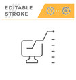 computer analytics editable stroke line icon vector image