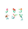 cute beautiful mermaids collection lovely sea vector image vector image