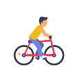 cyclist on red bike colorful vector image