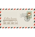 envelope with a stamp for a coffee house vector image vector image