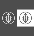 ethereum signs as thin line icon of internet money vector image vector image