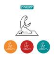 female prayer outline icons set vector image