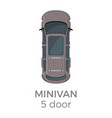 Five doors minivan top view flat icon