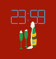 flat on background of champagne christmas clock vector image vector image