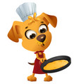 fun yellow dog cook to make pancake in frying pan vector image vector image