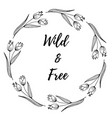 hand drawn of decorative wreath wildflower vector image