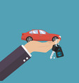 hand holding car in palm and key on finger vector image vector image