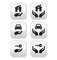 Home car keys with hands buttons set vector image vector image
