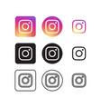 instagram social media icons vector image