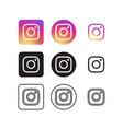 instagram social media icons vector image vector image