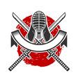 kendo helmet for and crossed swords design vector image