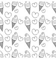 line sweet ice cream in the cornet with heart vector image vector image