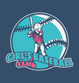 logo design girls baseball club with batsman vector image