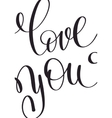 love you black and white hand written lettering vector image vector image