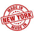 made in new york red grunge round stamp vector image