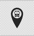map pointer with bus icon isolated vector image vector image