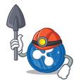 miner ripple coin character cartoon vector image