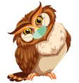 owl cartoon charater waring mask vector image vector image