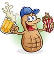 peanut cartoon character drinking beer