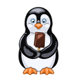 Penguin with ice cream vector image