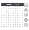 portfolio line icons signs set outline vector image vector image