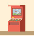 retro arcade machine with game flat style vector image