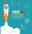 rocket with start up business icons vector image