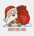 santa claus with a bag gifts laughing vector image