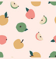 seamless pattern with apples trendy hand vector image