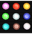 set of colored gem stones round diamonds vector image