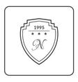 shield emblem flat white vector image vector image
