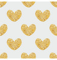 tile pattern with golden hearts on grey background vector image vector image