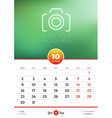 Wall Calendar Template for 2017 Year October vector image vector image