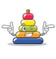 wink pyramid ring character cartoon vector image