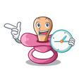 with clock newborn is sucking a pacifier cartoon vector image vector image