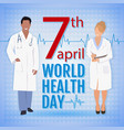 world health day concept with doctors and stylish vector image