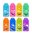 colorful kids name tags with funny cartoon round vector image
